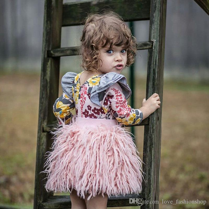 Retail kids luxury designer clothes girls tutu skirts baby INS Pink Faux Fur Ball Gown pleated princess dress skirt Children clothing