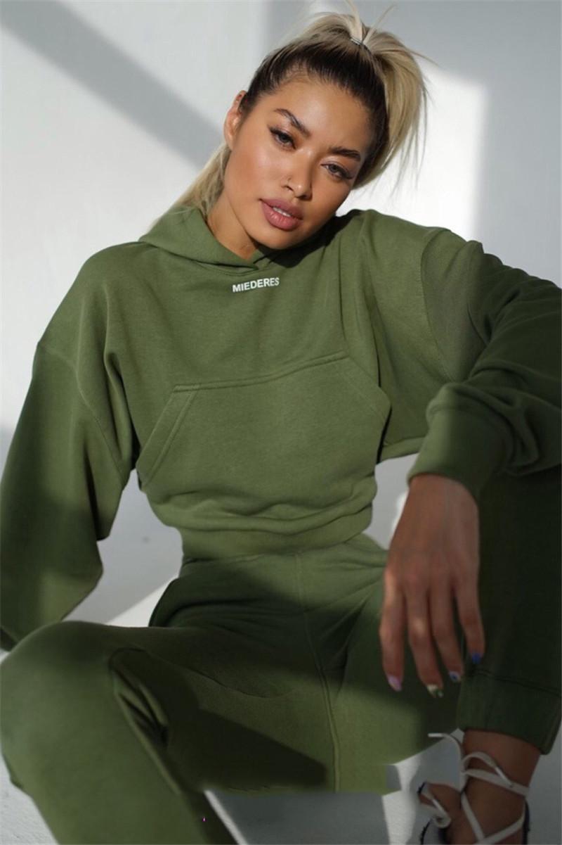 Casual Kadınlar Tasarımcı eşofman Moda Letter Nakış Katı Renk Kapşonlu 2 Parça Setler Yeni Kadın Giyim