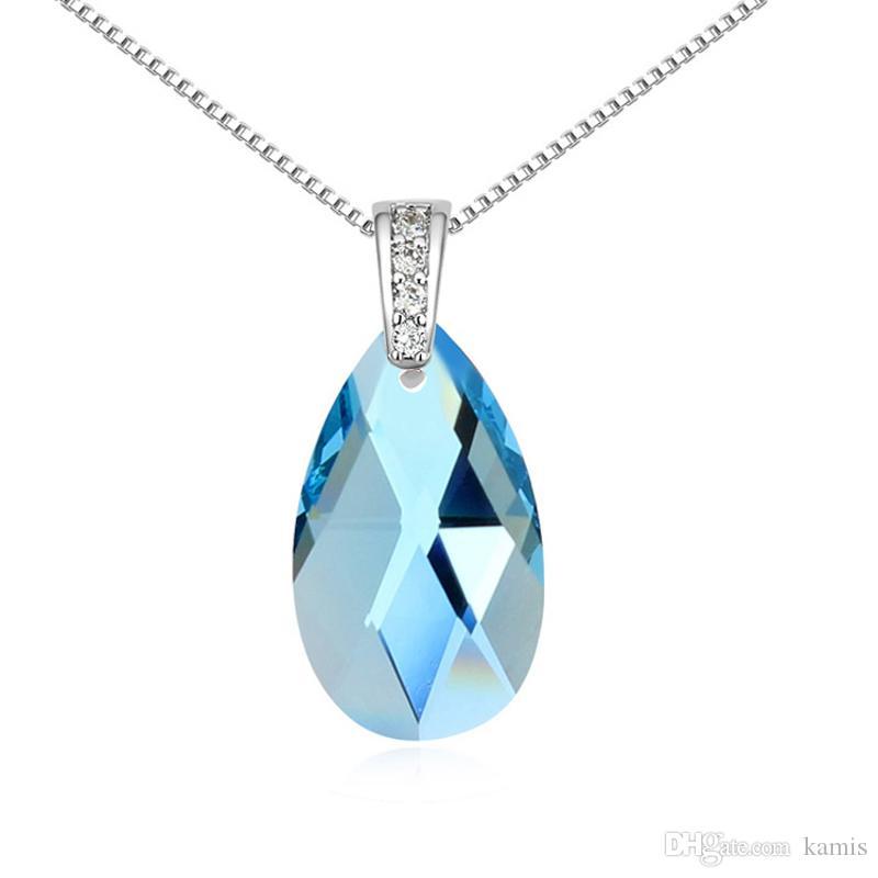 Acheter Goutte Deau Pendentif Cristal Bleu De Collier Swarovski Haute  Qualité Femmes Bijoux Mode Cadeau Lady Accessoires De 5,56 € Du Kamis | ...