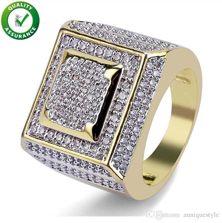 Hip Hop Mens Jewelry Rings Luxury Designer Fashion Gold Plated Iced Out Full CZ Diamond Finger Ring Bling Cubic Zircon Love Ring Wedding