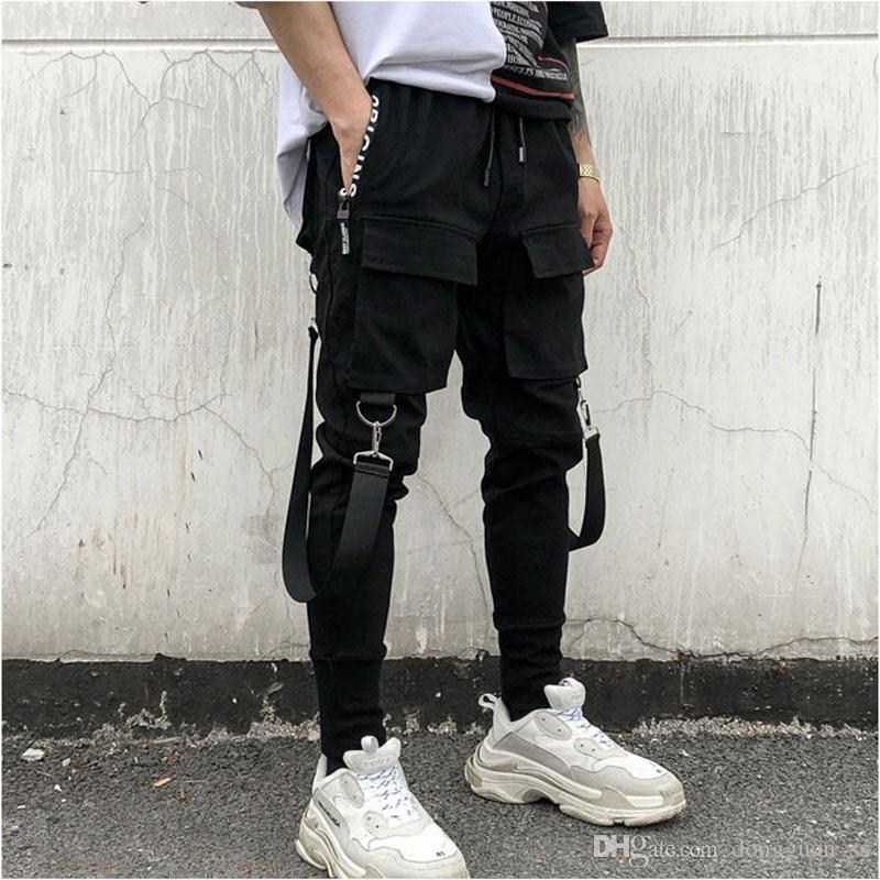 Vendita calda Side Pockets Pencil Pants Hip Hop degli uomini di Patchwork merci Ripped Sweatpants Jogger Pantaloni modo maschio Figura intera Pant
