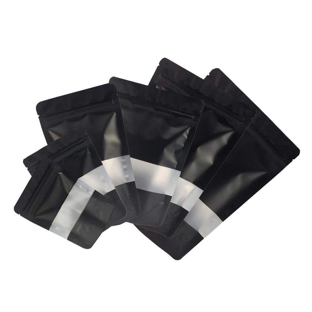 Karışık Boyut Mat Siyah ile Şeffaf Dikdörtgen Pencere Ön Gümüş İçinde Siyah Geri Folyo Mylar Gözyaşı Notch ile Zip Kilit Çanta Stand Up