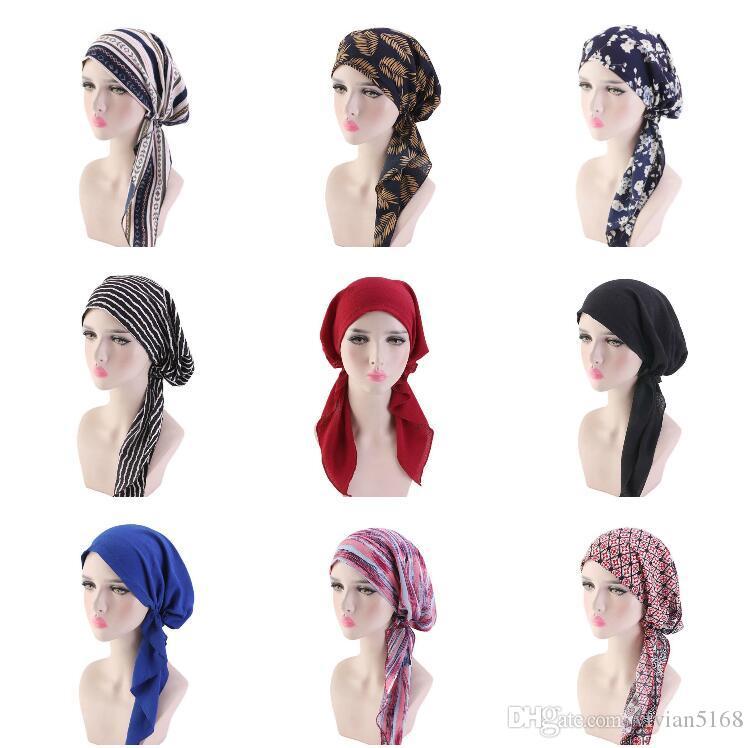 Muslim headscarf Hat Chemotherapy cap Hair accessories for Women Women Chemo Headwear Turbans Long Hair Head Scarf Head wraps Free Shipping
