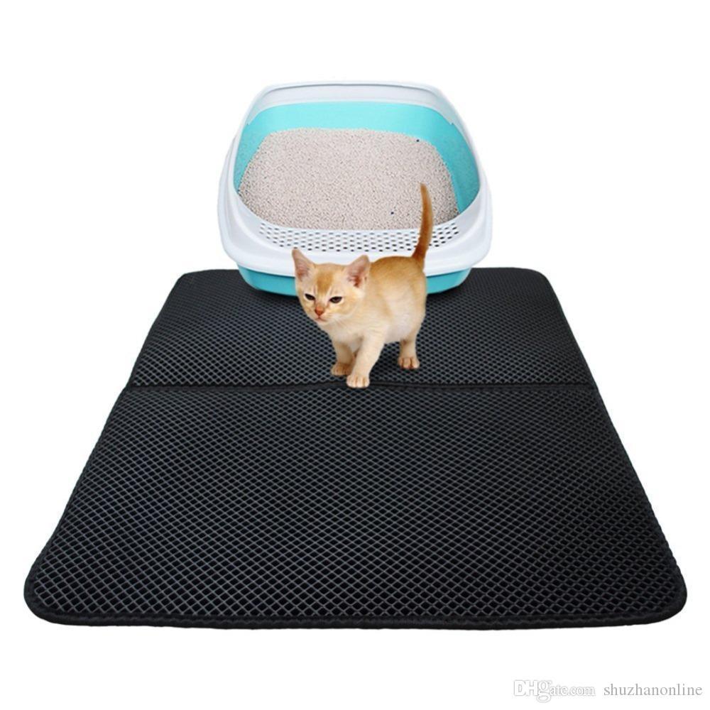 고양이 집 청소 검은 색 방수 애완 동물 고양이 쓰레기 매트 EVA 더블 레이어 쓰레기 고양이 패드 트래핑 애완 동물 쓰레기 상자 매트 애완 동물 제품 침대