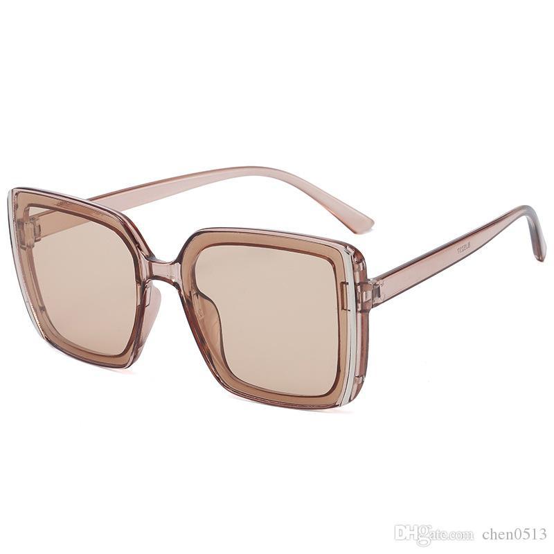 Em 2020 Nova Retro Praça Sun Glasses Moda Big Quadro óculos de sol na moda sem maquiagem Personalidade Sunglasses