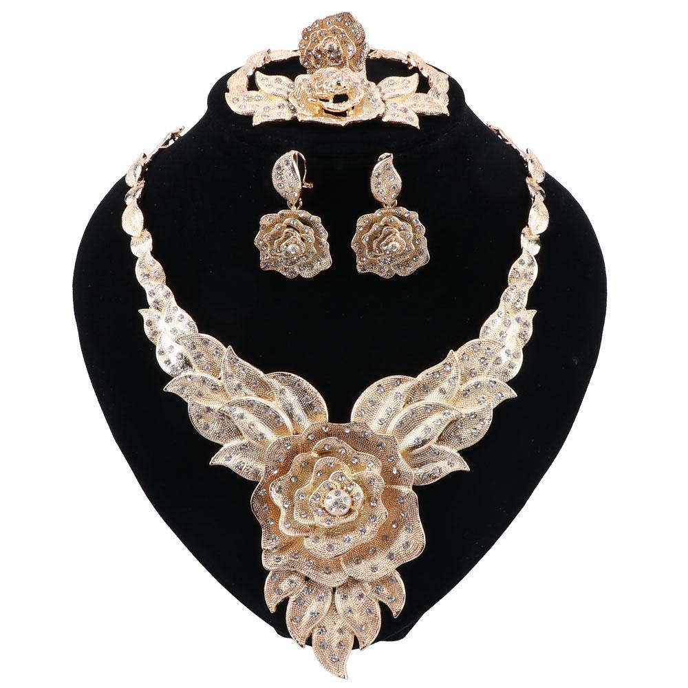 Dubai joyería de la manera fija en forma de pulsera colgante collar de flores pendientes del anillo del cristal de la joyería joyería de Dubai boda