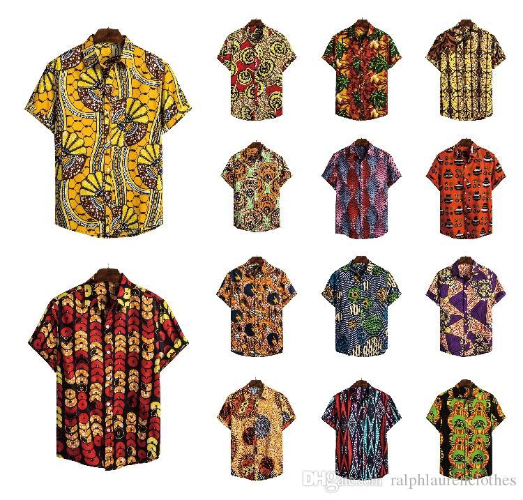 Африканский Mens Стиль Дизайнерские футболки Мода Ethic шаблон рубашки Printed отворотом шеи с коротким рукавом Повседневная мужская дизайнер одежды