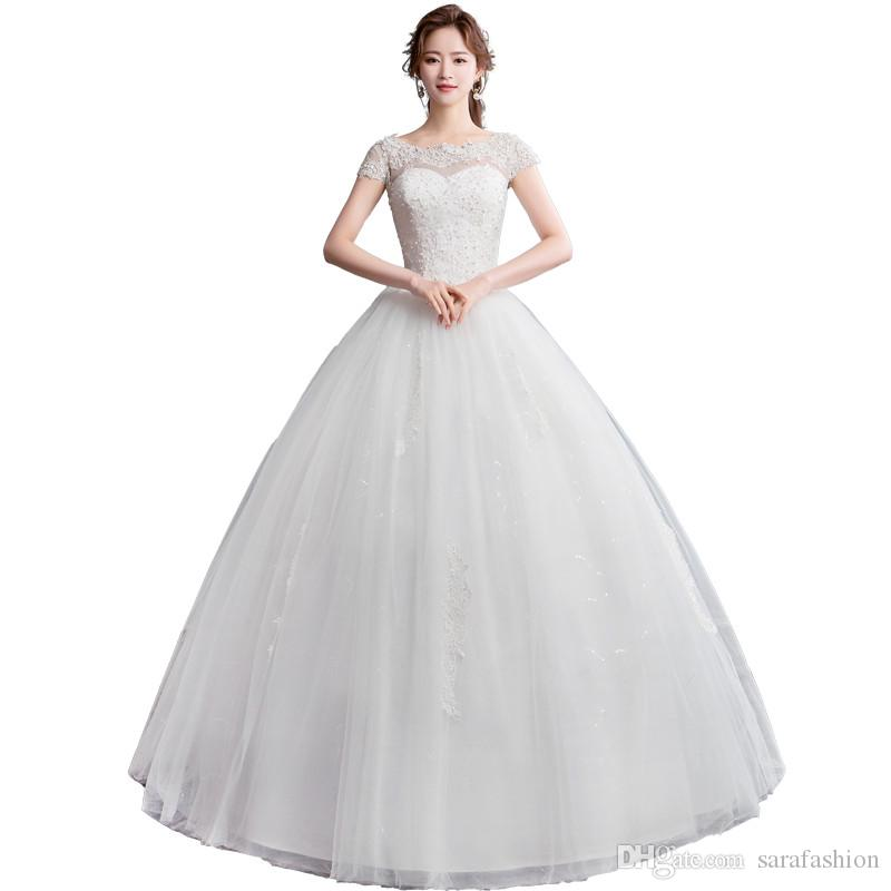 Scoop Neck Tulle Ball Gown Wedding Dresses with Lace Pearls 2019 Ivory White Floor Length Wedding Gowns