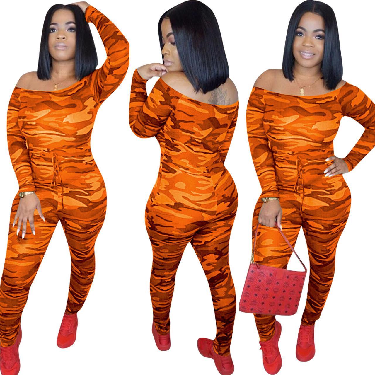 Women Unique Long Sleeve Camouflage Rompers Jumpsuit Loose Casual Herem Pants Long Sleeve Hip Pop Sport Slacks Plus Size S-XXL