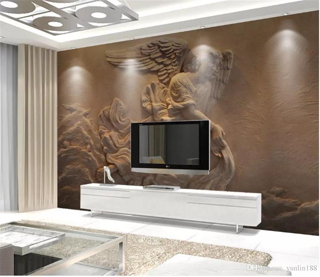 Wallpaper 3D personalizado 3D Europeia Embossed Mítico Figura anjo Sala Quarto fundo decoração da parede Wallpaper