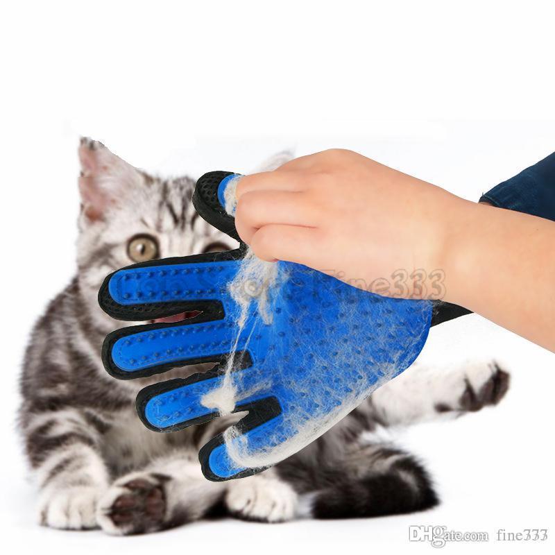 Hunde Katzen Spielzeug Grooming Handschuhe Tierbedarf Hundehaar Deshedding Bürsten-Kamm-Handschuh für Tier Fünf-Finger-Reinigung Massage Produkte 35