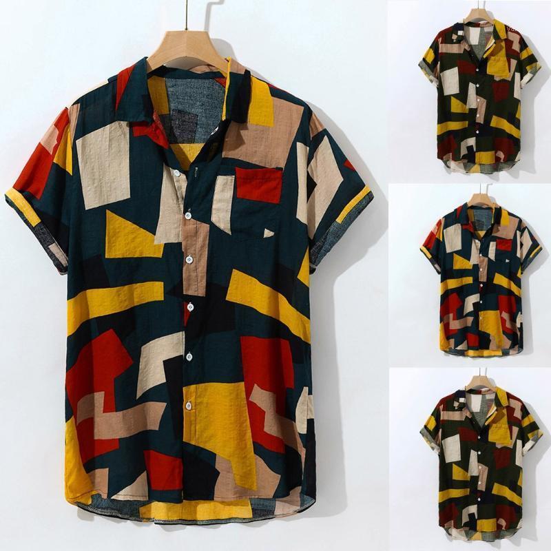 2019 Nuevo diseño de moda con estilo para hombre del multicolor Lump bolsillo en el pecho redondo manga corta Hem Loose camisas Blouse1