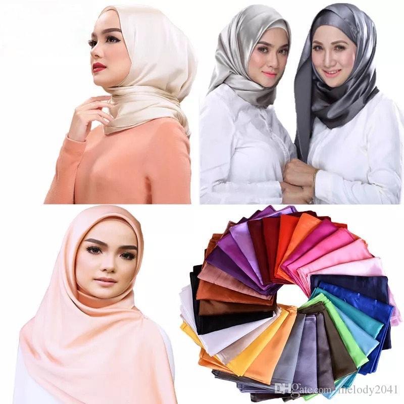 Klassische massive Farben 90cm große Nachahmung Seidenschals Satin Square Wrap Damenschal 34 Farbe Großhandel