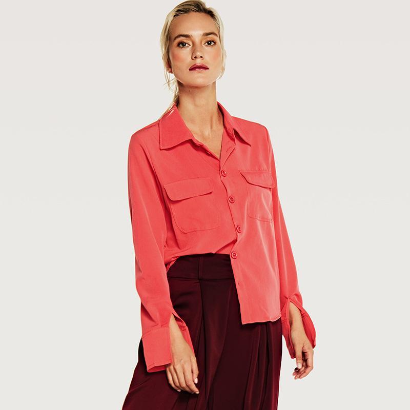 Frauen Blusen Hemden Six Senses 2021 Baumwolle Slim Turn-Over-Kragen, Einreihe-Knopf und große Taschenfrauen HM013
