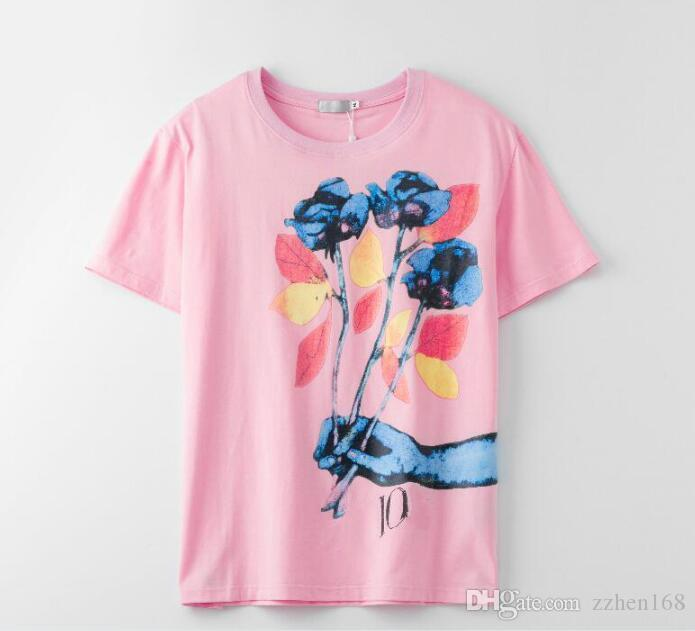 Marca T Moda shirt modello classico rosa floreale T-shirt Donna Top Tee Shirt Femme vestiti nuovi arrivi di vendita calda casuale Breve Sleev