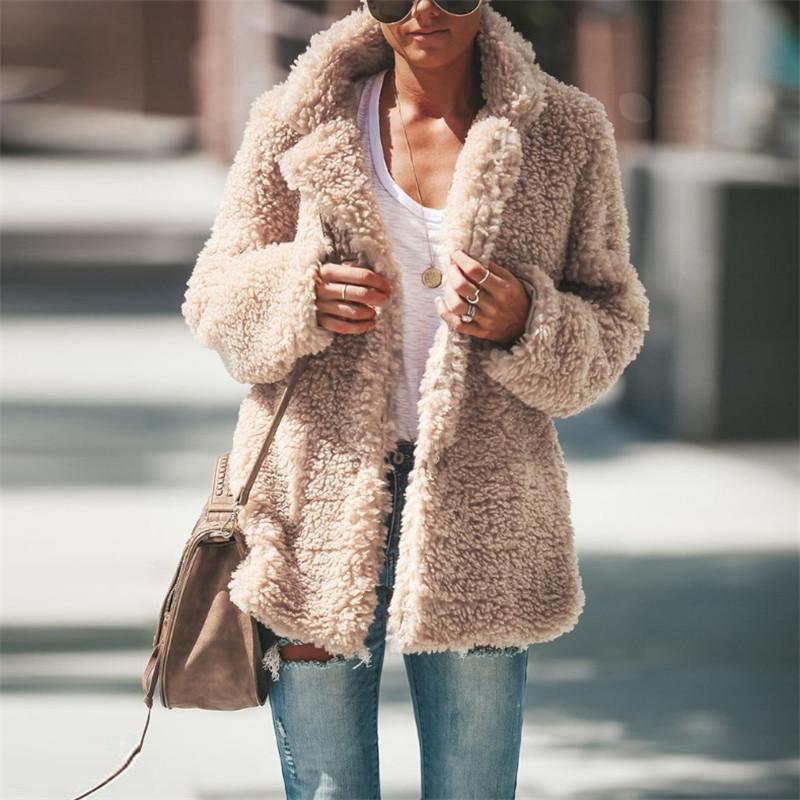 Tasarımcı Patchwork Kış Kuzu Coats Yaka Kalın Sıcak Ceket Kaban Bayan Açık Dikiş Kabanlar Aşağı çevirin