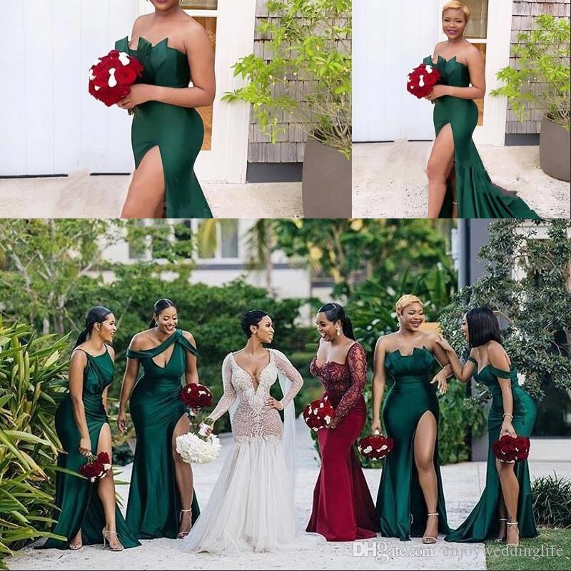Hunter Green Design Diverse Scollo Sexy Senza maniche Satin Abiti da sera Rucchirati Side Side Spalato Lungo Prom Dress Sweep Drean Tlox Robe de Soiree