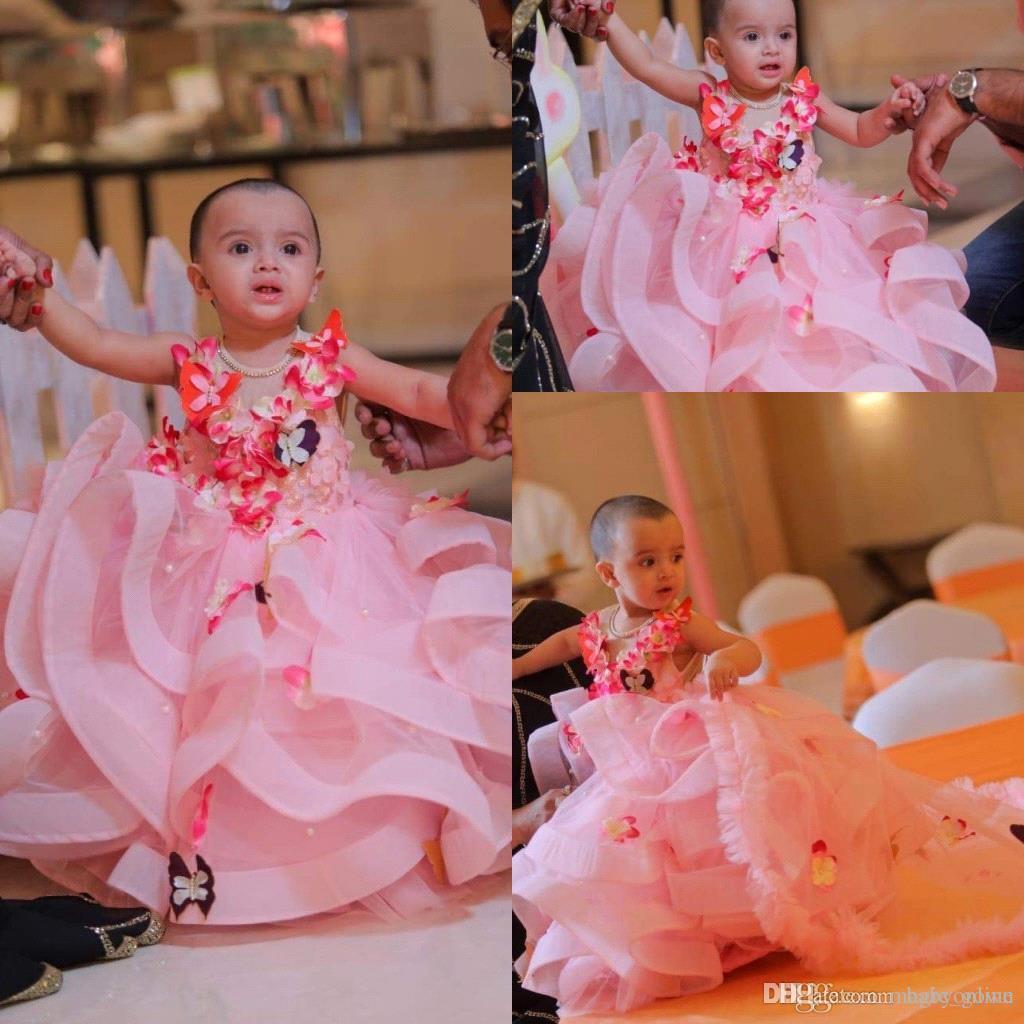 Princess Pink Tulle Flower Girl Dress 2019 Butterflies 3D Floral Applique Layered Ruffles Girls Pageant Dresses Kids Birthday Party Dress