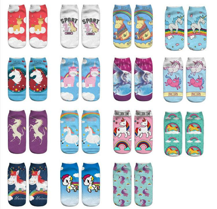 Girls Unicorn Pony Print Socks Soft Comfortable Cartoon Everyday Shoe Socks