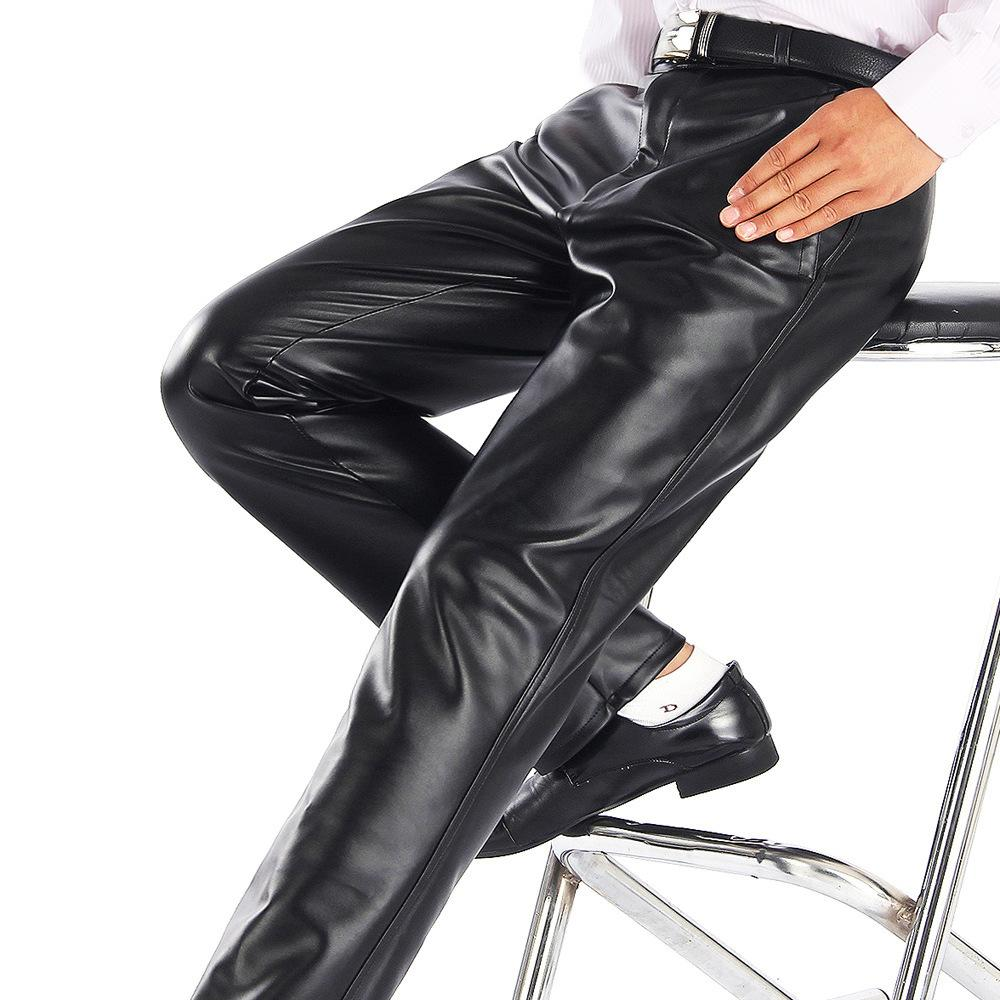 Thoshine Brand Summer Men Leather Pants Elastic High Waist Lightweight Casual PU Leather Trousers Thin Motor Pants Plus Size T200104