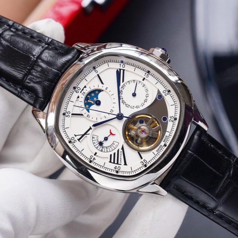 Tasarımcı erkek otomatik seyretmek lüks saat 43mm kadran ay fazı adam izle lüks mekanik saatler saatler