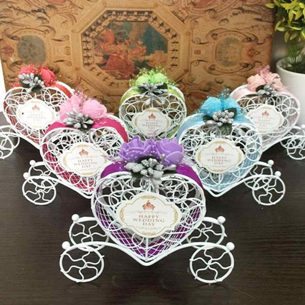 100pcs Hierro romántica carro de la calabaza de la boda caja del caramelo de la boda del favor de la fiesta de bienvenida regalos decoración de la boda