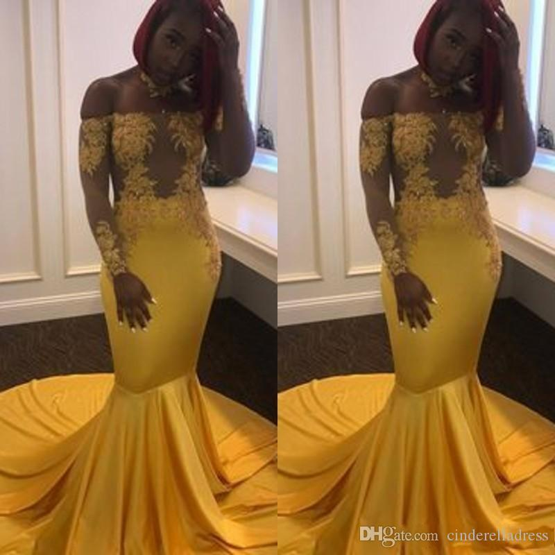 Amarelo Sereia Prom Vestidos manga comprida Alças Illusion Lace Applique Plus Size robe de soiree Evening vestidos ogstuff vestido formal