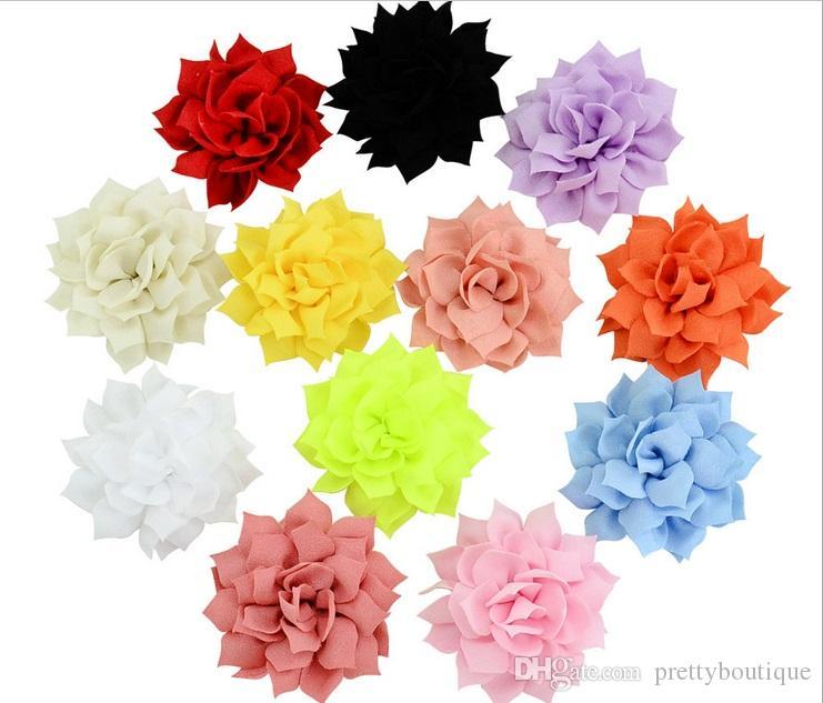 아름다운 솔리드 쉬폰 꽃과 함께 CIPS 헤어핀 DIY 머리 장식 꽃 헤어핀 헤어 클립 머리핀 아이 헤어 액세서리 A140