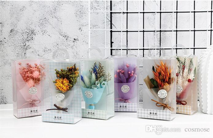 Mini bouquet de fleurs séchées créatif cadeau de Saint Valentin pour la maison décoration de jardin fleurs séchées avec boîte-cadeau en PVC
