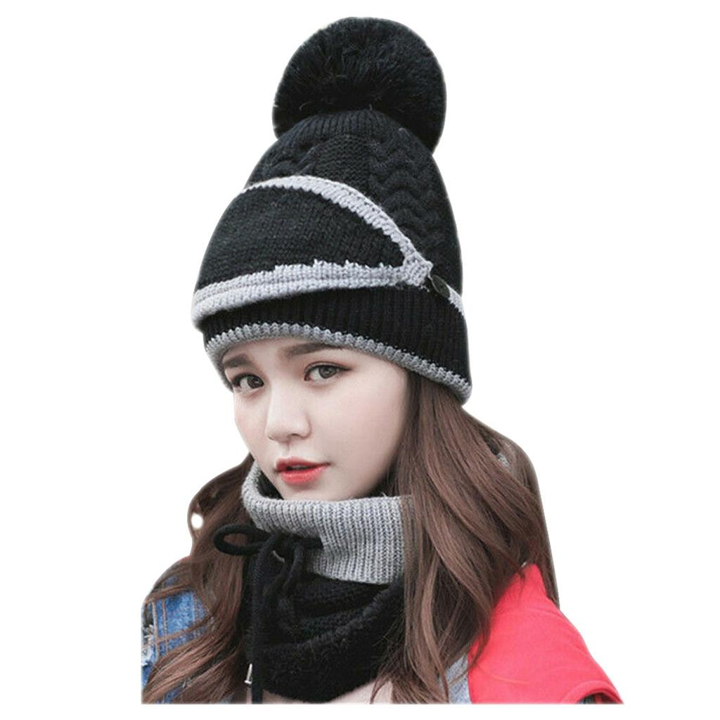 Girl Warm Ski Hat Big Fur Pompoms Ball Knitted Hats Scarf Hat Set Winter Women Beanie Hat Thick Skullies Female Cap 3Pc Suit Outdoor Hats