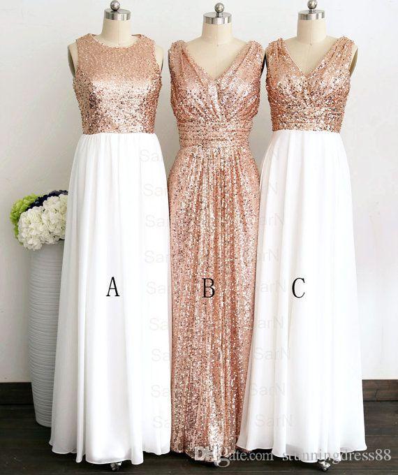 Rose Gold Stylish Chiffon Long Bridesmaid Dresses Sequin White Chiffon V neck jewel zipper Long Cheap Bridesmaid Party Prom Dress Cheap