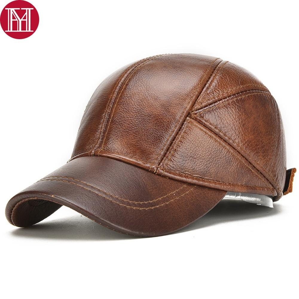 Men Real Cowhide Leather Earlap Caps Male Fall Winter 100% Real Cow Leather Hats New Casual Real Leather Outdoor Baseball Cap Y200110