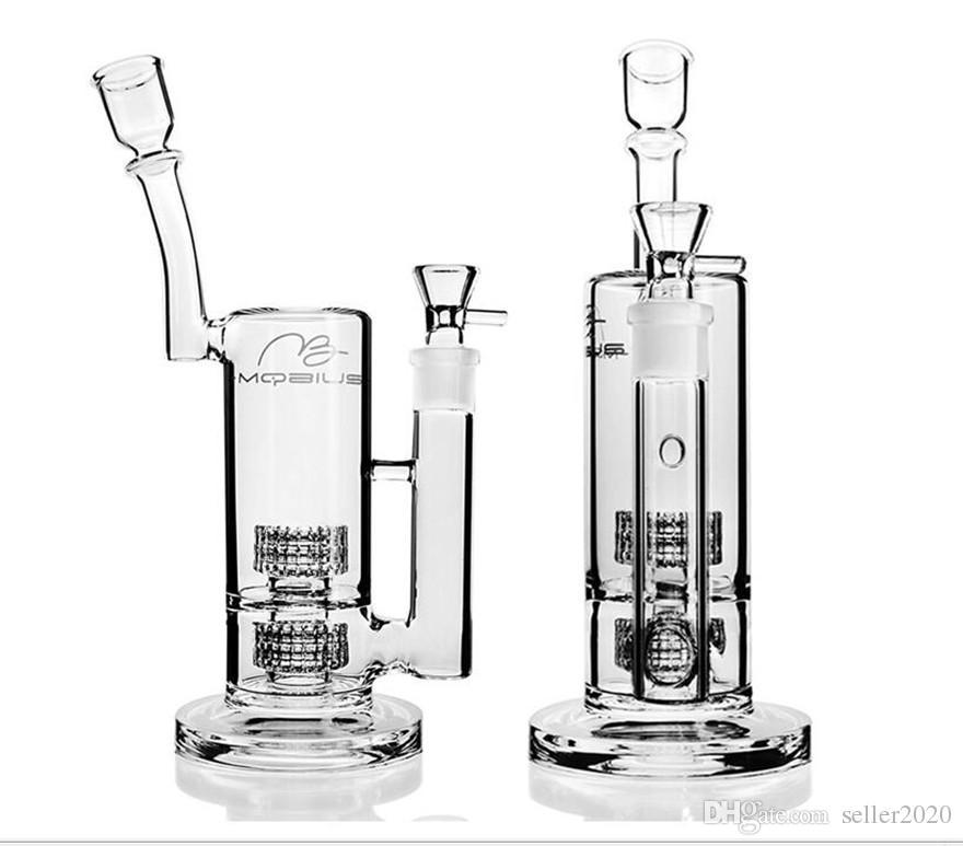 18mm Bowl Joint Tall Bong Heady Dab Rigs Thick Glass Water Pipes Mobius Bongs With Stereo Matrix perc Shisha Hookahs 11inchs