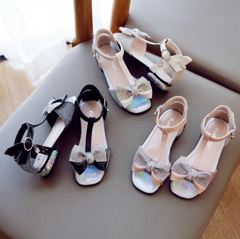 Sandals for Kids Girls Baby Low -heel Bow Diamond Princess Leather Shoes Fashion Bling Rhinestone Children Girls Beach Sandals
