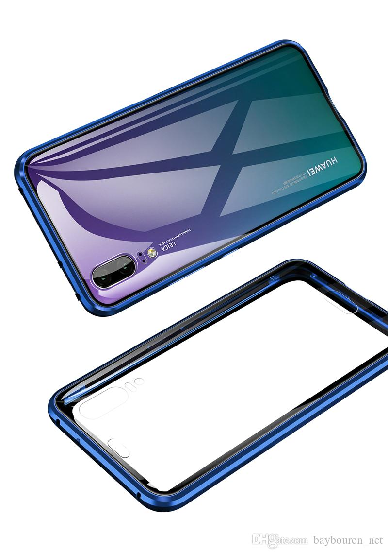 Plein corps en métal et en verre Case magnétique Téléphone pour Huawei P20 P20 Pro Pare-chocs en verre trempé Couverture rigide double face en verre cas