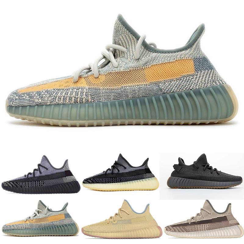 Con la caja Israfil ESCORIA Kanye West V2 azufre Yeshaya TIERRA Asriel lino luz de la cola 35v2 3M reflectante estática del oeste de los zapatos corrientes GET qyality
