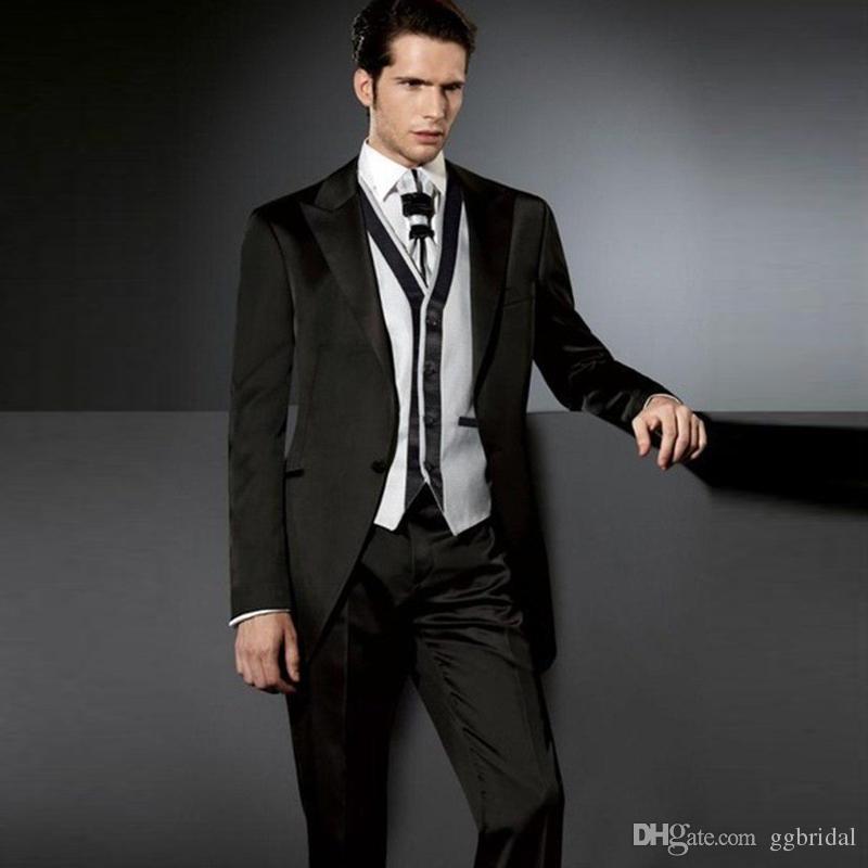 2019 Black Herren 3 Stück Anzug für Hochzeit Bräutigam Smoking Jacket + Pants + Vest Hochzeitsanzug Groomsman Bester Mann-Klage für Partei