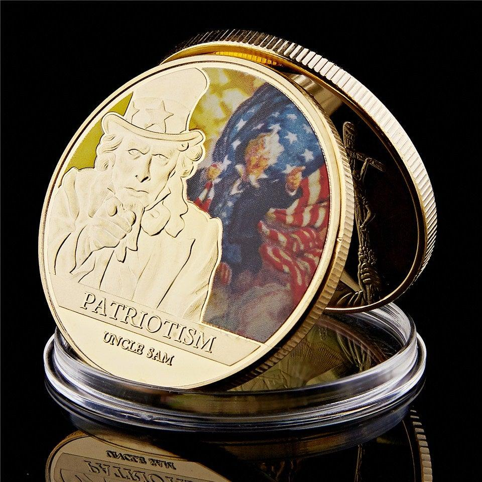 Challenge Coin 100th Anniversary Great War Sam Medallion I Want You Military Gold Plated Challenge Coin