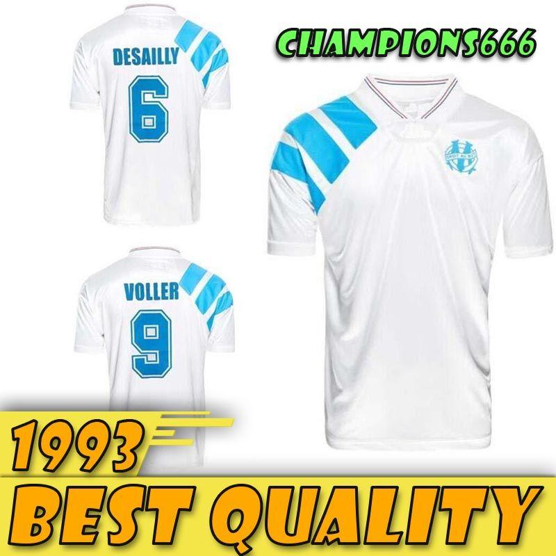 1993 Olympique de Marseille Rétro Commémorer football shirt DESCHAMPS PAPIN BOLI DESAILLY Maillot football VOLLER Marseille Football Jersey
