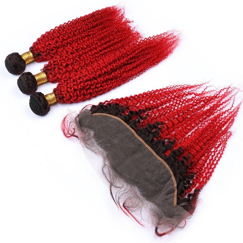 # 1B / Ombre Rouge Kinky Curly malaisienne Cheveux 3Bundles foncé Racine avec Frontal Ombre Rouge Kinky Curly homme Trames cheveux avec 13x4 Dentelle Frontal
