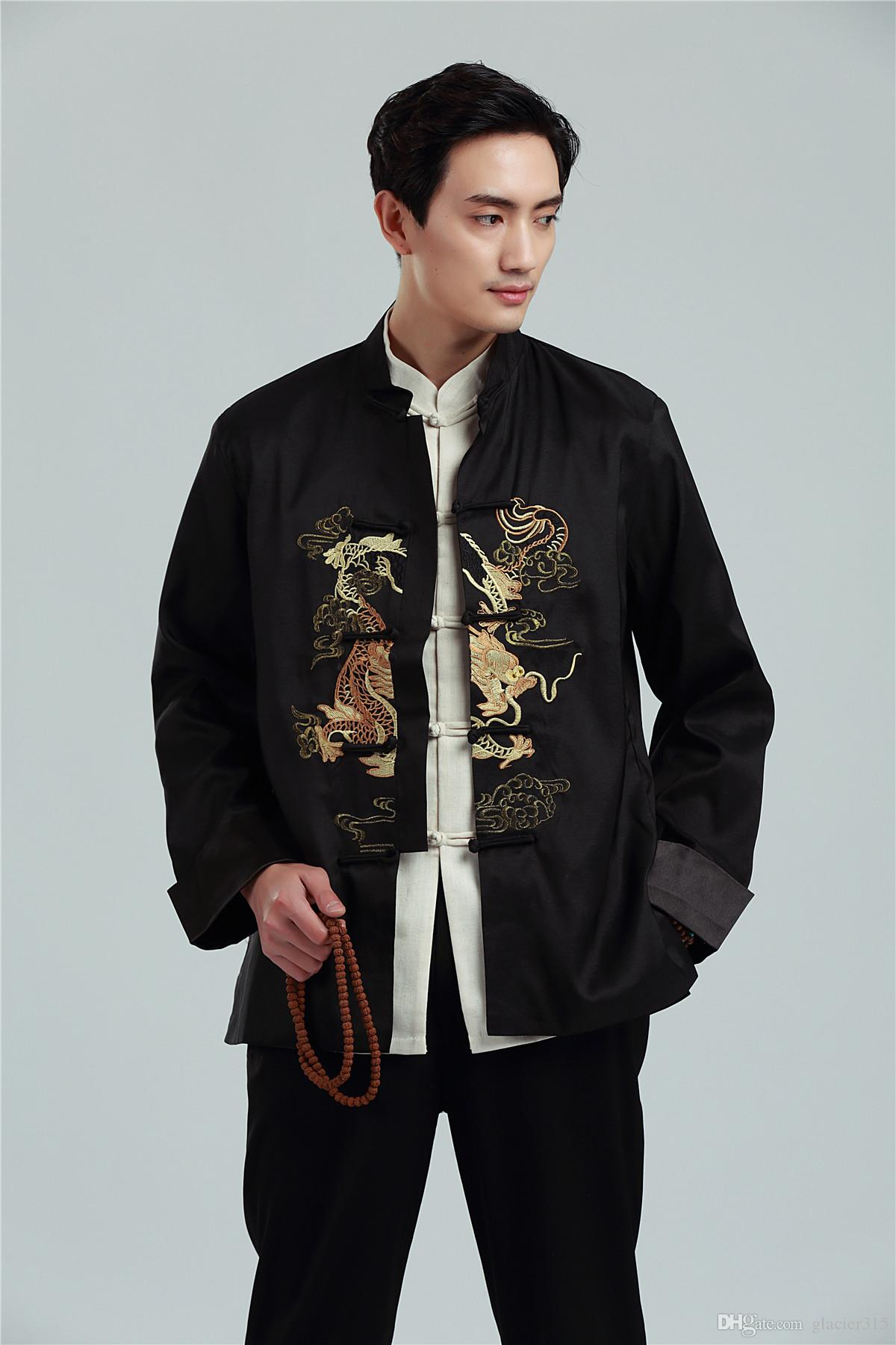 Shanghai Story Men's Chinese Traditional Clothing Dragon Embroidery Long Sleeve Tang Suit Kung Fu Jacket For Spring