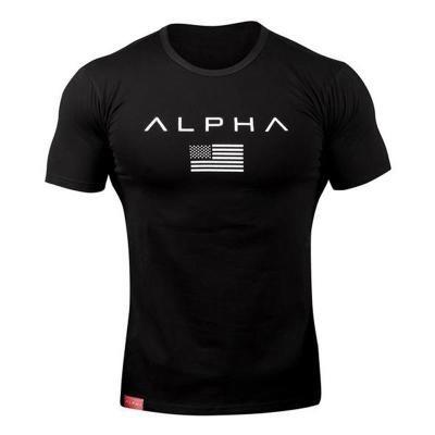 ALPHA Deporte camiseta de los hombres del desgaste del verano Gym Fitness Tight entrenamiento hombre de la camiseta de manga corta Hombre Slim Fit Camisas de algodón muscular Hermano