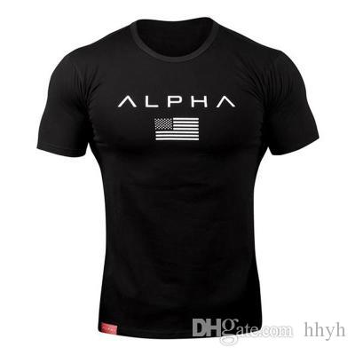 ALPHA Sport T Shirt Men Summer Wear Gym Fitness Tight Mens Workout T-shirt Homme Short Sleeves Slim Fit Cotton Shirts Muscle Brother