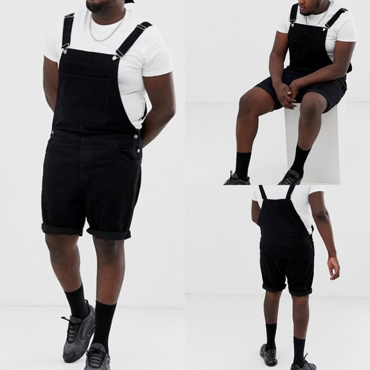 Mens Black Color Vintage Overall Fashion Curling Edge Above Knee Length Cargo Pants Casual Loose Overall Trousers