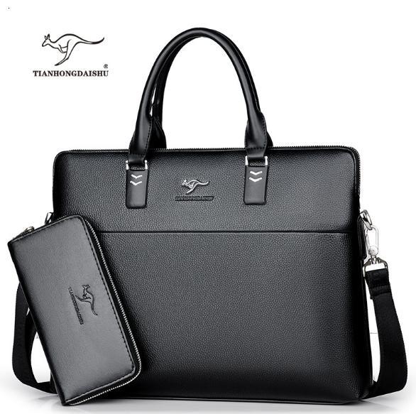 Borse da viaggio borse CJ191212 TIANHONGDAISHU Uomo Casual Cartella Affari tracolla in pelle Messenger Bags computer portatile borsa degli uomini