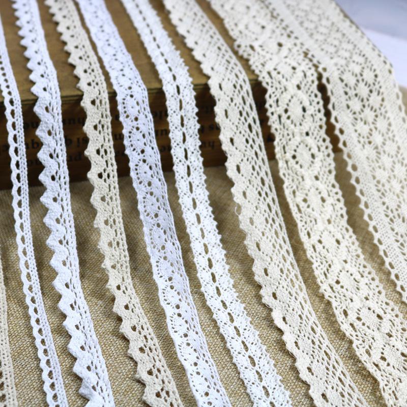 Pamuk Dantel Şerit Bej Beyaz Siyah 5 Yards DIY El Yapımı Düğün Craft Hediye Paketleme Patchwork Pamuk Tığ Işi Dantel Şerit