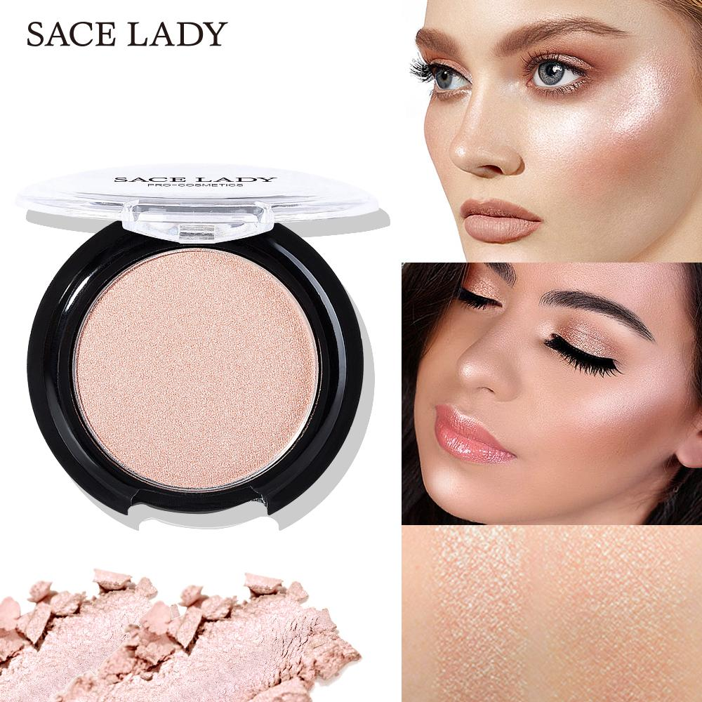 SACE LADY Highlighter Powder 6 Colors Face Iluminator Makeup Professional Glitter Palette Make Up Glow Brighten Cosmetic