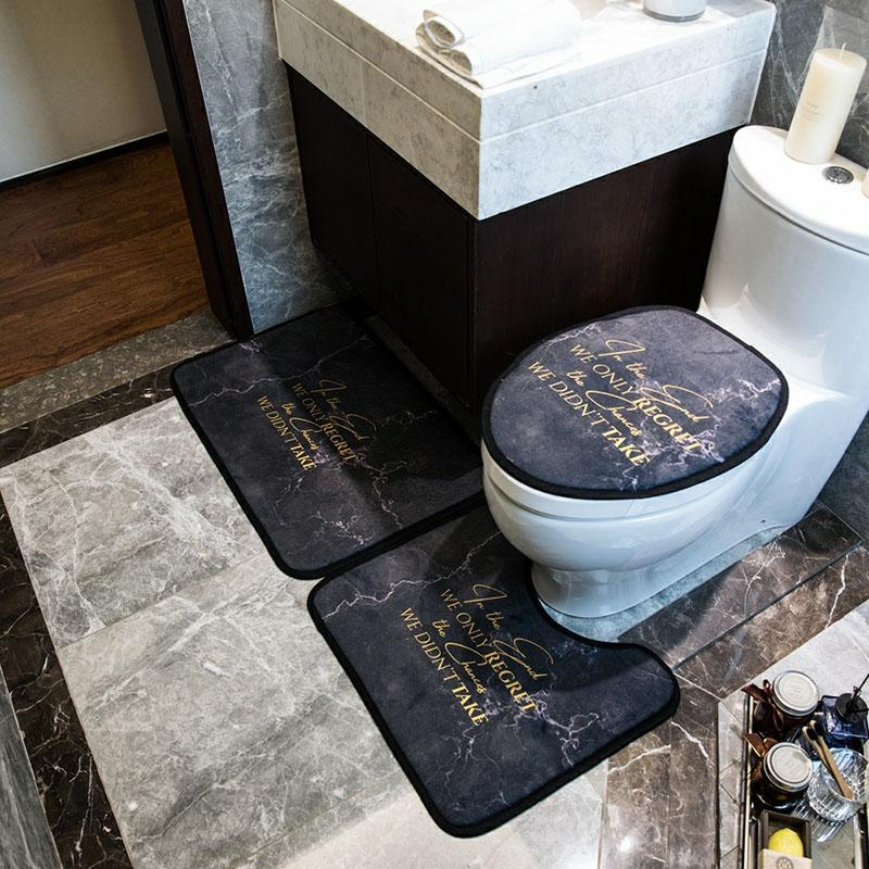 INS Fashion Black Toilet Seat Covers Personality Non Slip Home Bath Mats Overcoat Toilet Case Three Piece Set
