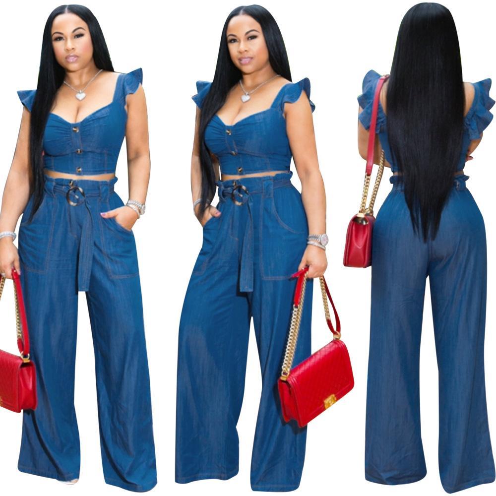 Women Two Piece Jeans Outfits Set Blue Denim Ruffled Bandage Sleeveless Zipper V Neck Crop Top Pocket Long Wide Leg Jean Suit Sashes