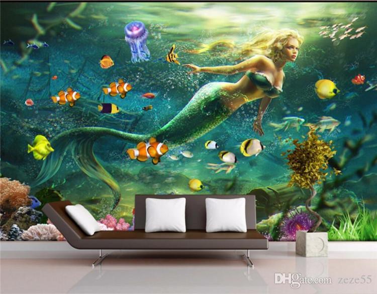 Encargo mural de fotos 3d imagen de papel de pared sueño submarino sirena que viven decoración de la habitación a pintar murales del papel pintado 3D para la pared 3 d